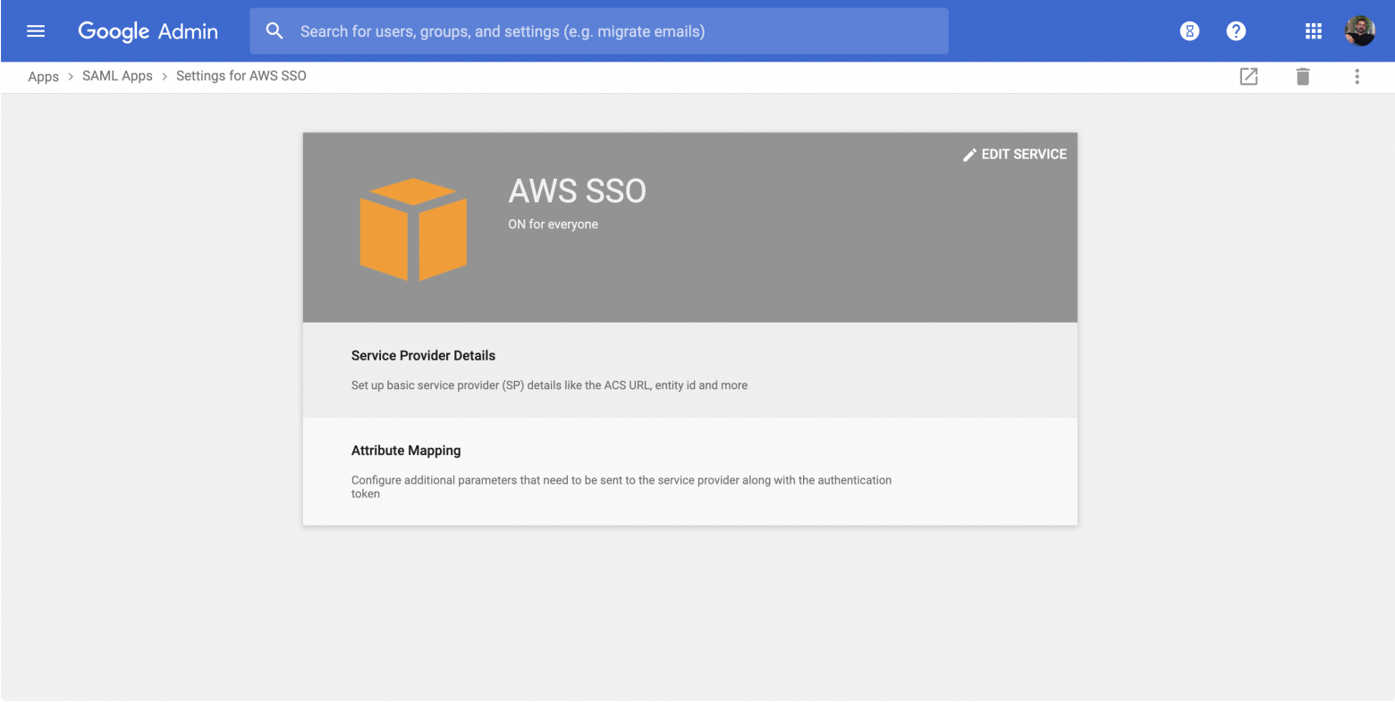 Amazon Web Services SSO authentication with Google GSuite